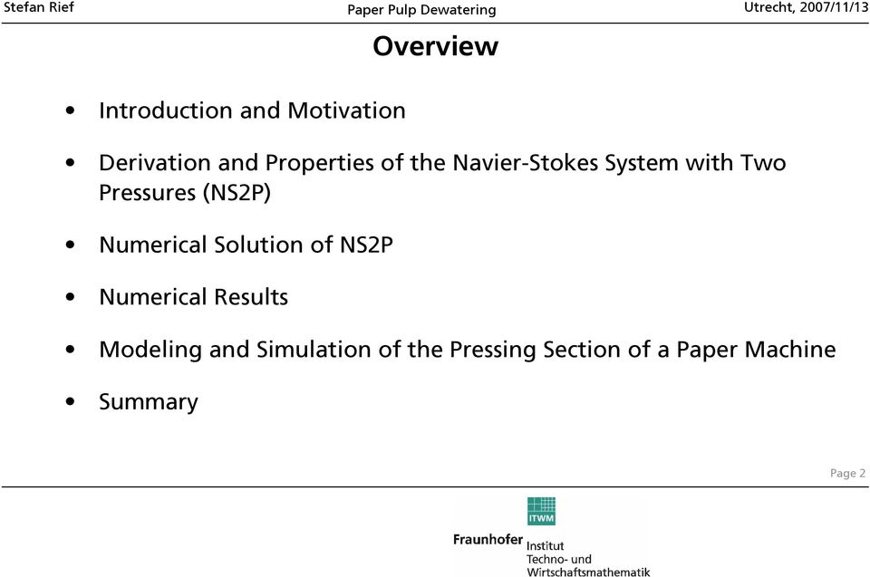 (NS2P) Numerical Solution of NS2P Numerical Results Modeling