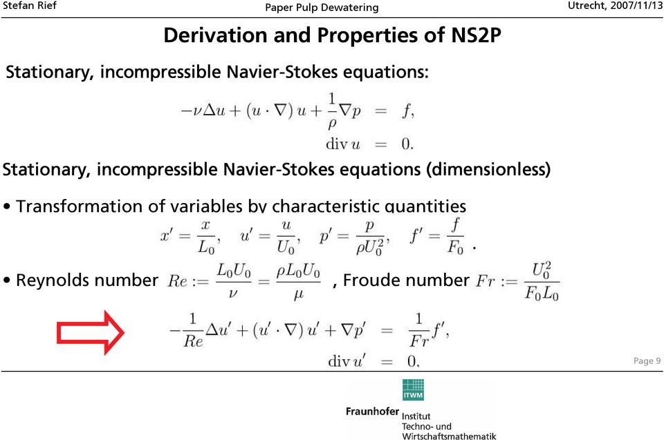 Navier-Stokes equations (dimensionless) Transformation of