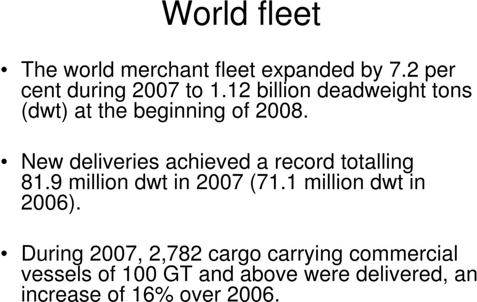 New deliveries achieved a record totalling 81.9 million dwt in 2007 (71.