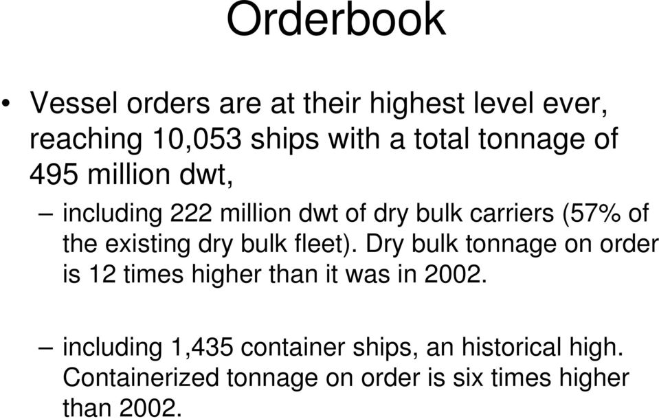 dry bulk fleet). Dry bulk tonnage on order is 12 times higher than it was in 2002.