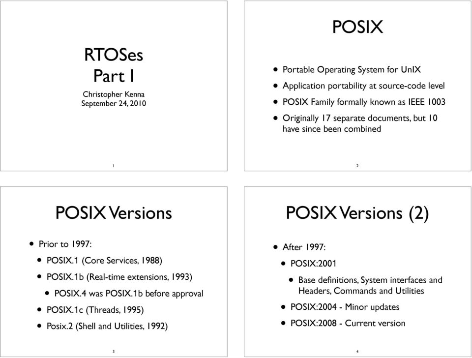 1 (Core Services, 1988) POSIX.1b (Real-time extensions, 1993) POSIX.4 was POSIX.1b before approval POSIX.1c (Threads, 1995) Posix.