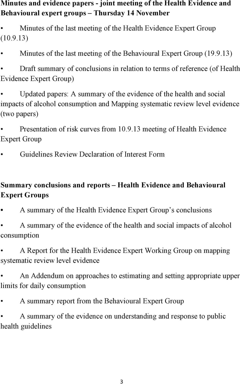 9.13) Draft summary of conclusions in relation to terms of reference (of Health Evidence Expert Group) Updated papers: A summary of the evidence of the health and social impacts of alcohol