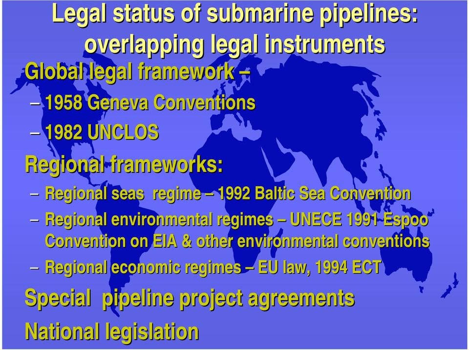 Convention Regional environmental regimes UNECE 1991 Espoo Convention on EIA & other environmental