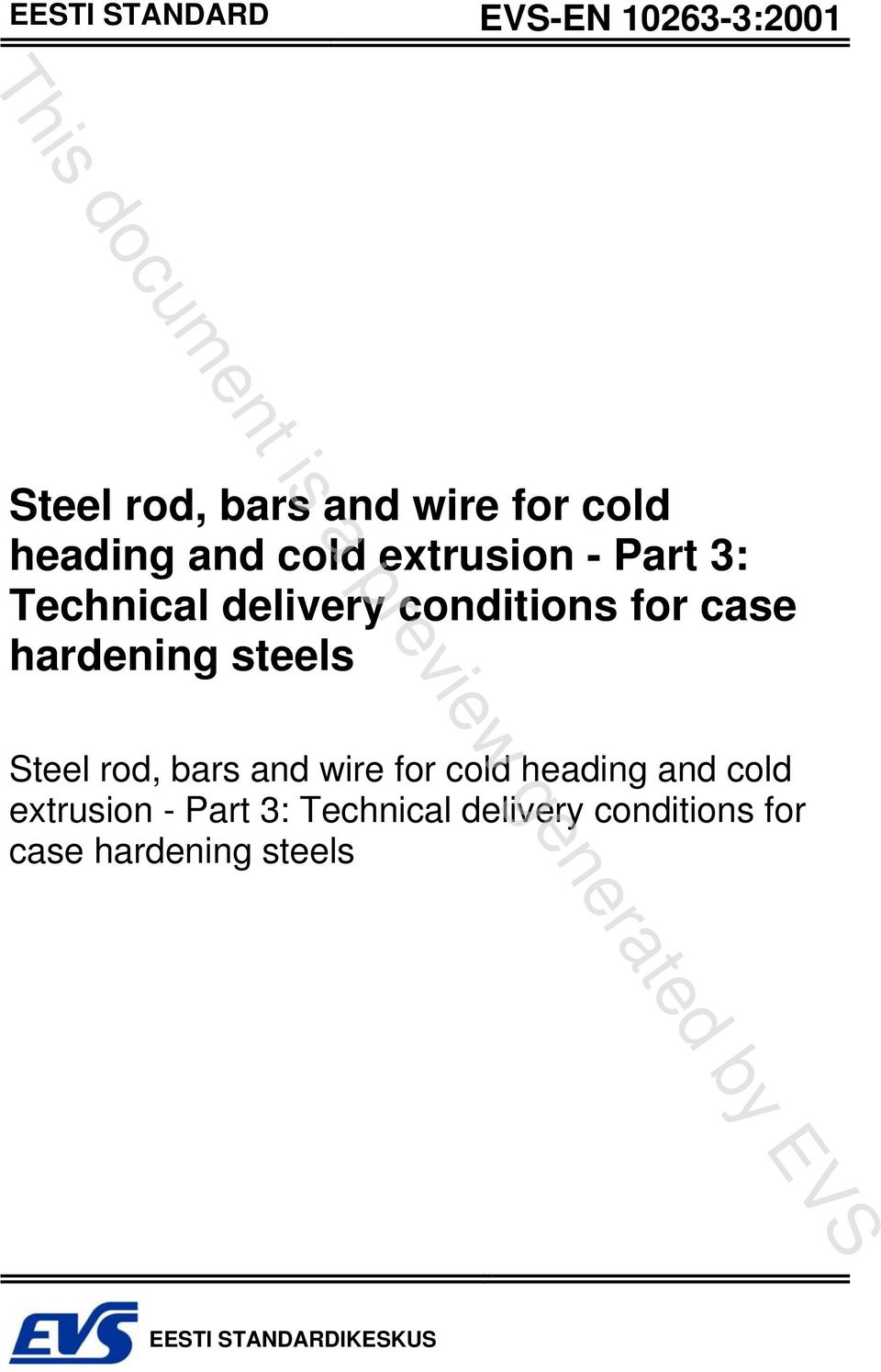 steels Steel rod, bars and wire for cold heading  steels EESTI