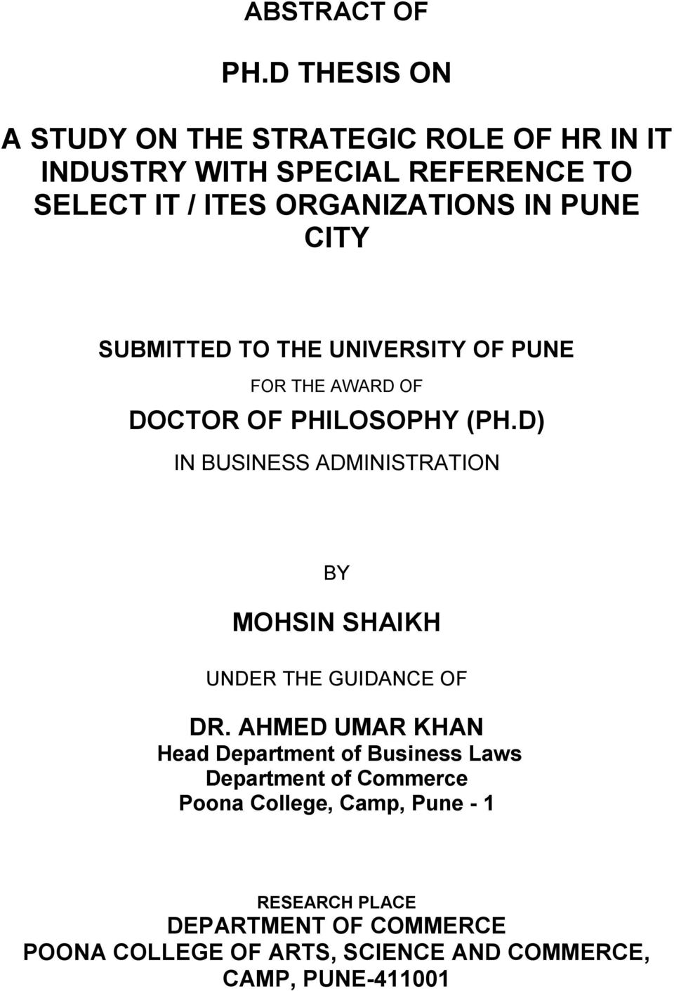PUNE CITY SUBMITTED TO THE UNIVERSITY OF PUNE FOR THE AWARD OF DOCTOR OF PHILOSOPHY (PH.