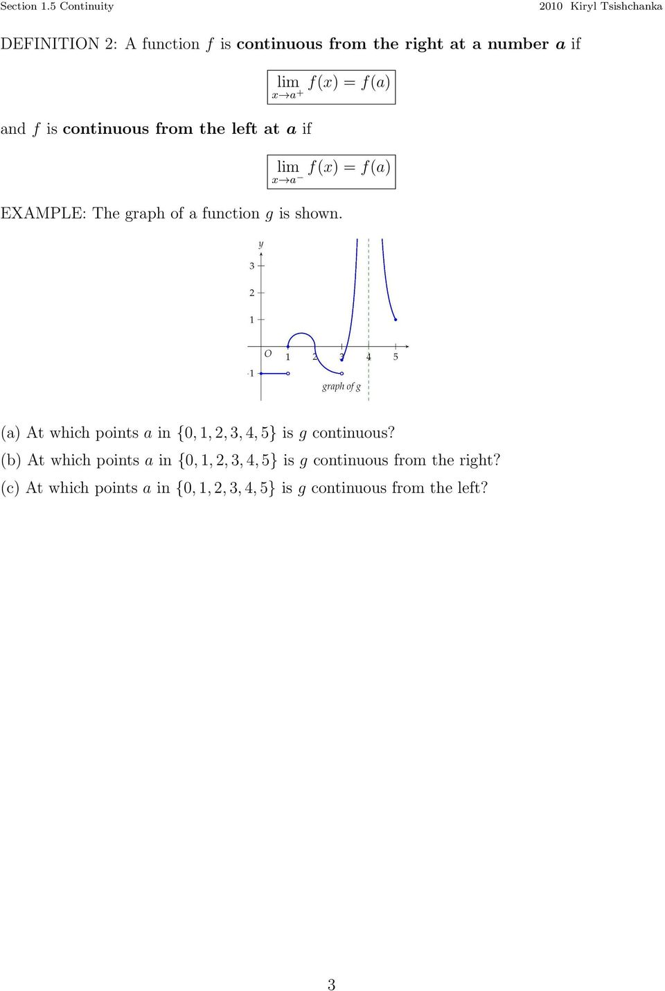 (a) At which points a in {0,,2,3,4,5} is g continuous?