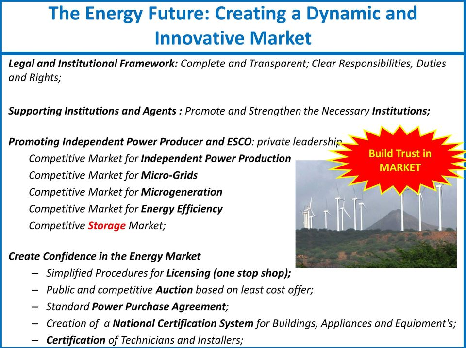 Micro-Grids Competitive Market for Microgeneration Competitive Market for Energy Efficiency Competitive Storage Market; Build Trust in MARKET Create Confidence in the Energy Market Simplified