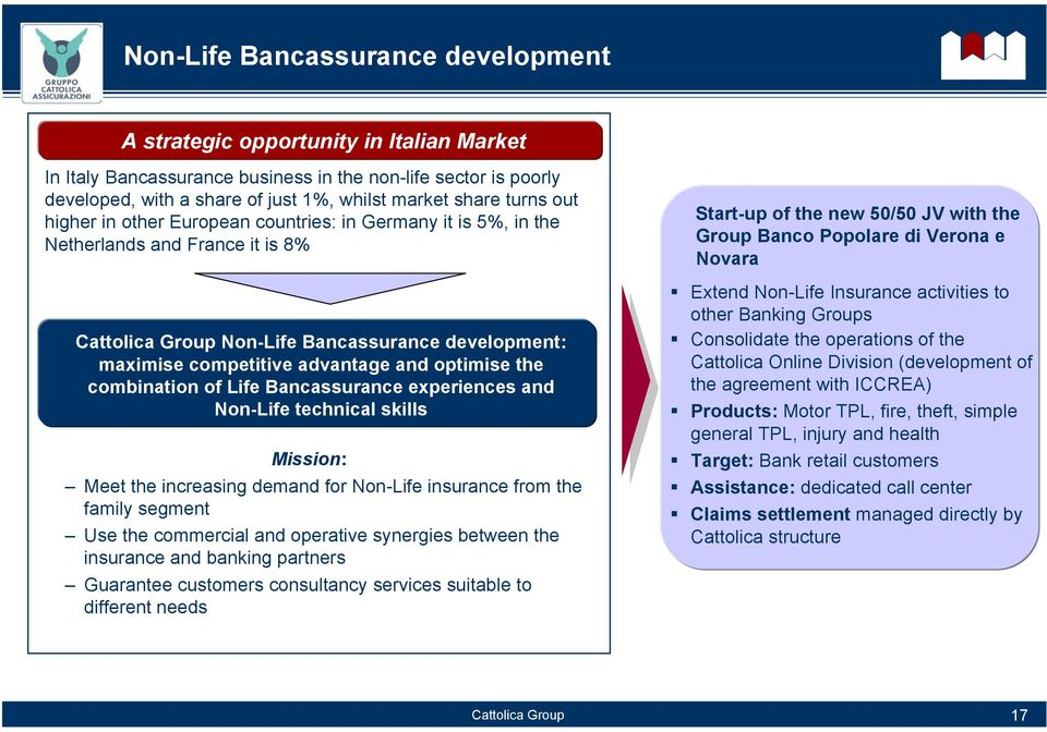 combination of Life Bancassurance experiences and Non-Life technical skills Mission: Meet the increasing demand for Non-Life insurance from the family segment Use the commercial and operative