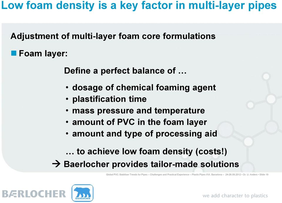 layer amount and type of processing aid to achieve low foam density (costs!