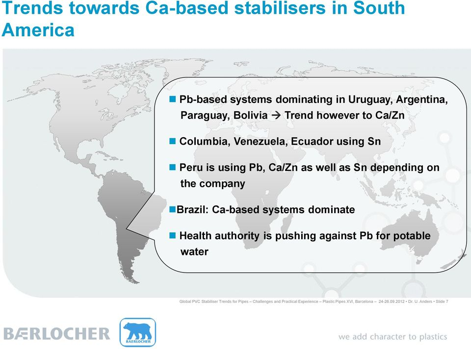 on the company Brazil: Ca-based systems dominate Health authority is pushing against Pb for potable water Global PVC