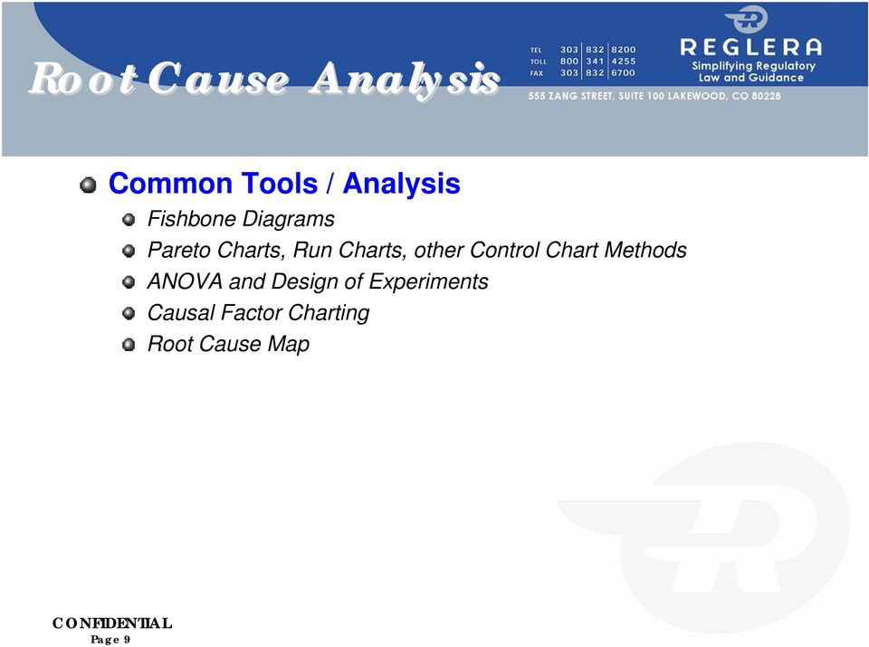 other Control Chart Methods ANOVA and Design of