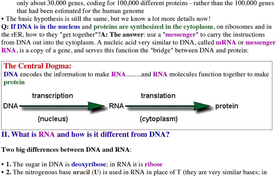 "a: The answer: use a ""messenger"" to carry the instructions from DNA out into the cytoplasm."