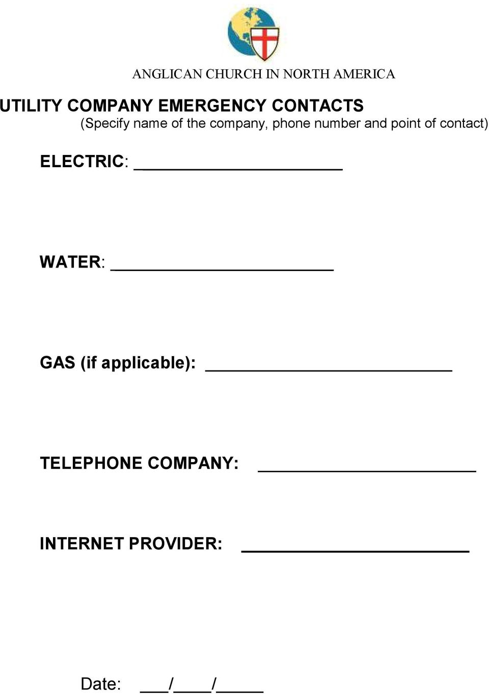 contact) ELECTRIC: WATER: GAS (if applicable):