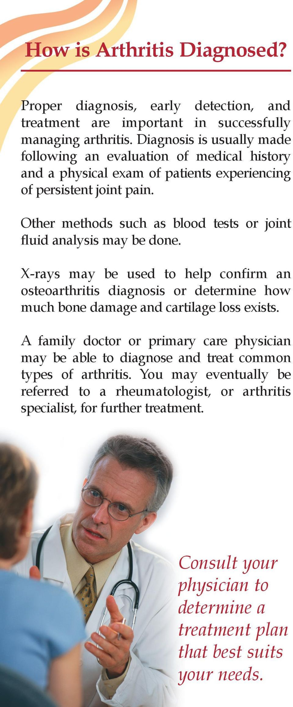 Other methods such as blood tests or joint fluid analysis may be done.