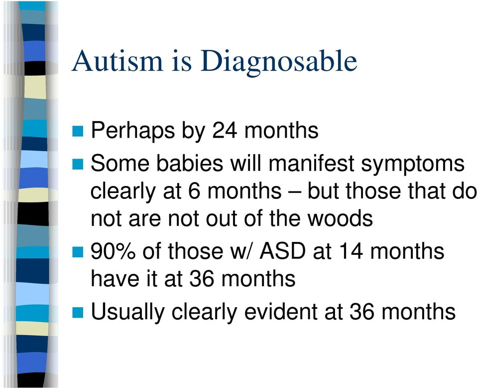 do not are not out of the woods 90% of those w/ ASD at 14