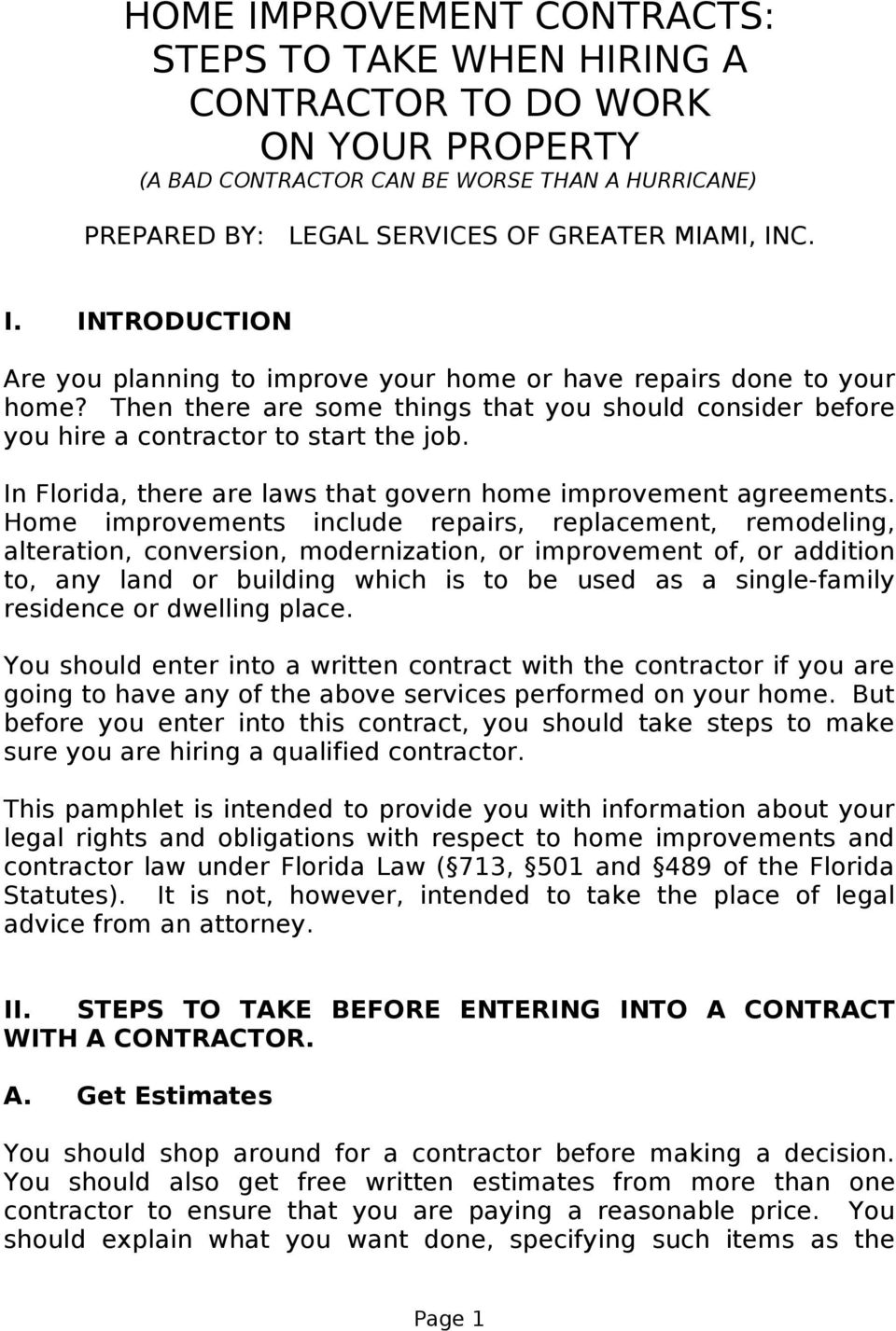 HOME IMPROVEMENT CONTRACTS: STEPS TO TAKE WHEN HIRING A