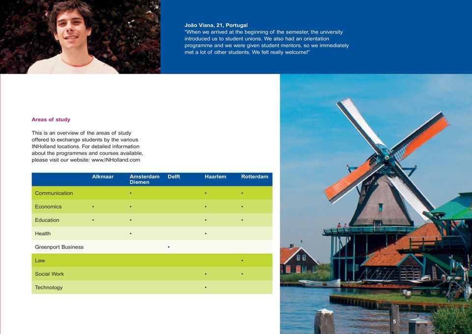 Areas of study This is an overview of the areas of study offered to exchange students by the various INHolland locations.