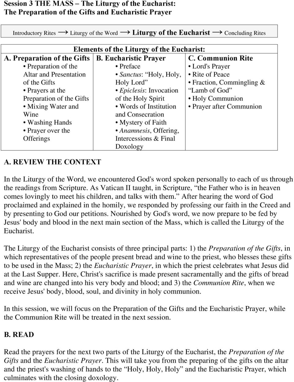 REVIEW THE CONTEXT Elements of the Liturgy of the Eucharist: B.