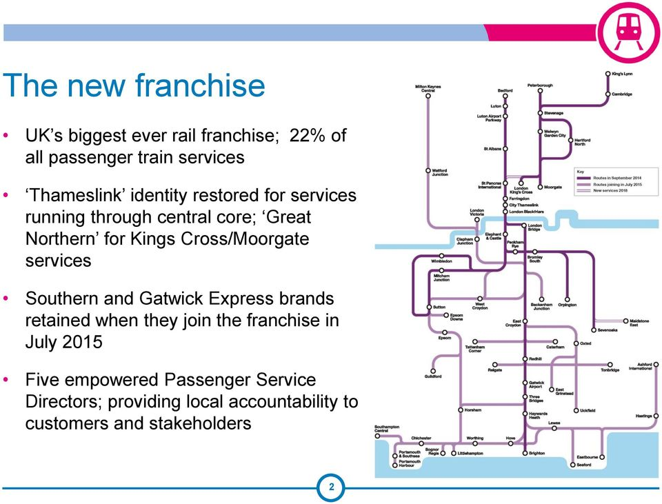 services Southern and Gatwick Express brands retained when they join the franchise in July 2015 Five