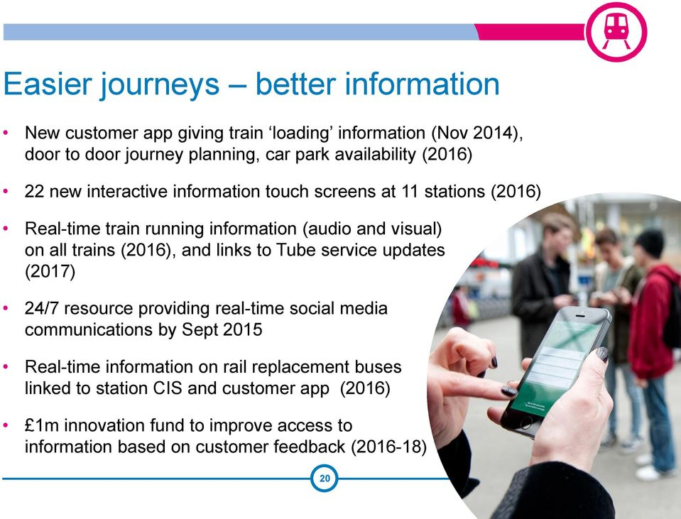 and links to Tube service updates (2017) 24/7 resource providing real-time social media communications by Sept 2015 Real-time information on rail