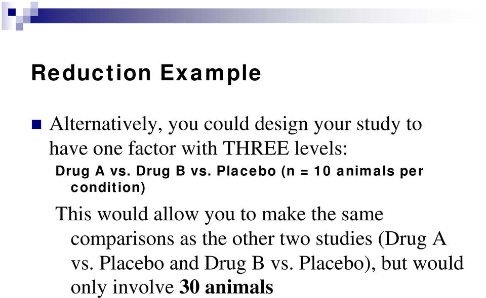 Placebo (n = 10 animals per condition) This would allow you to make the same