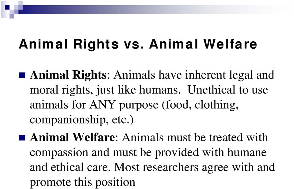 humans. Unethical to use animals for ANY purpose (food, clothing, companionship, etc.