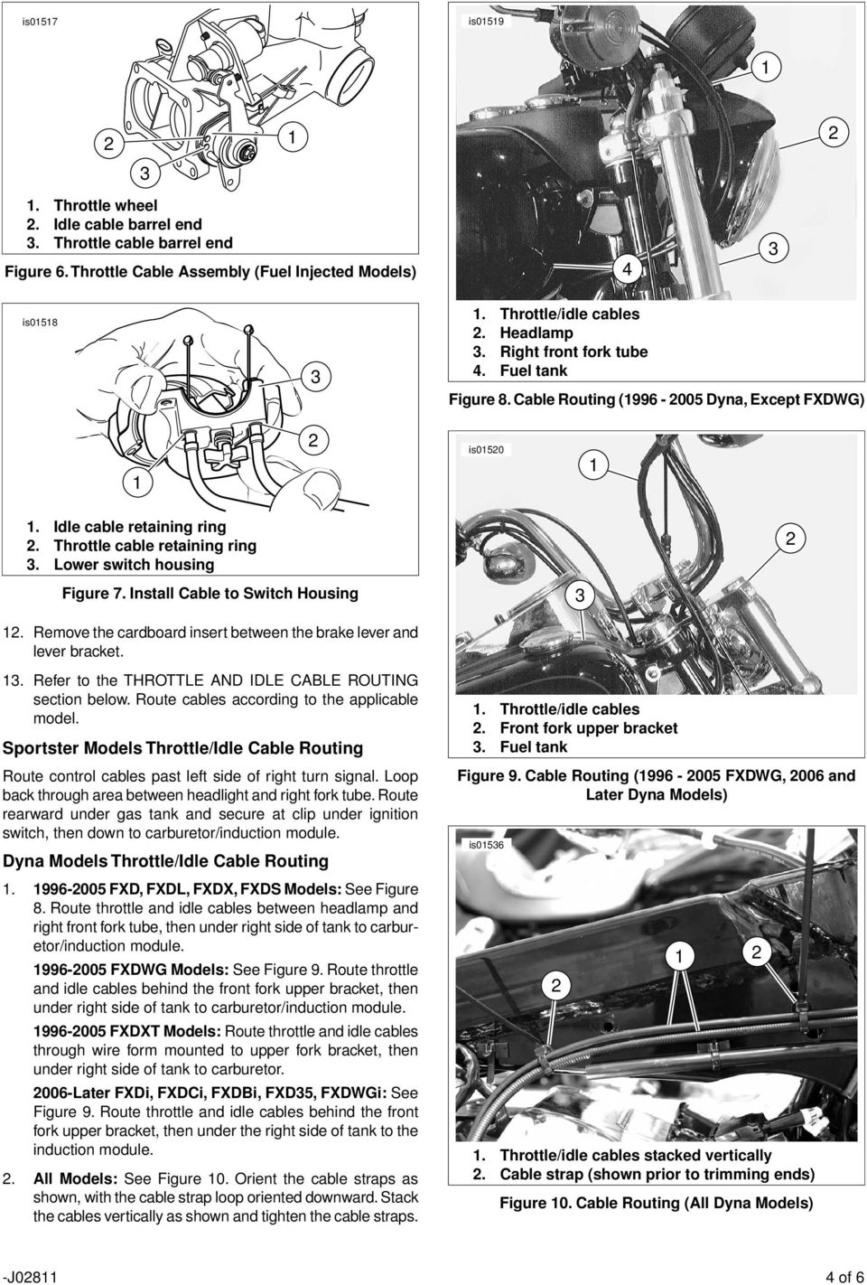 Remove the cardboard insert between the brake lever and lever bracket.. Refer to the THROTTLE AND IDLE CABLE ROUTING section below. Route cables according to the applicable model.