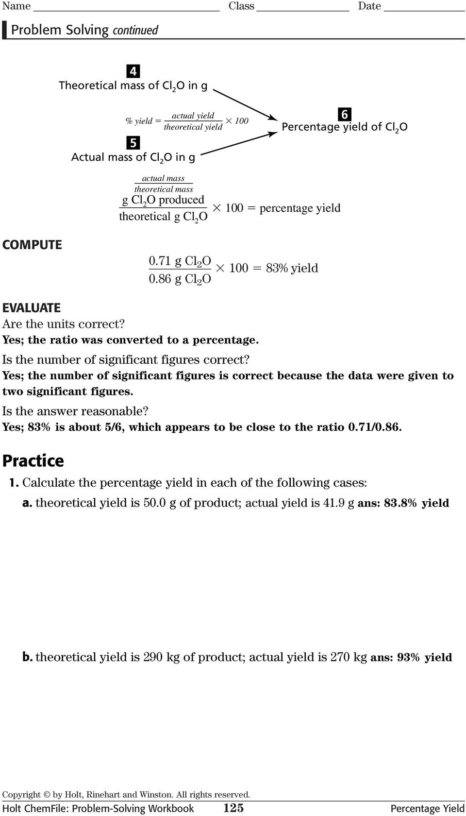 Problem Solving Percentage Yield PDF – Percent Actual and Theoretical Yield Worksheet