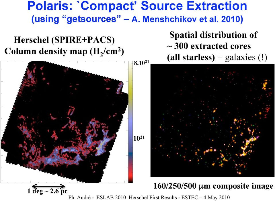 10 21 Spatial distribution of ~ 300 extracted cores (all starless) + galaxies (!