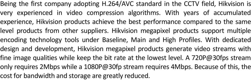 Hikvision megapixel products support multiple encoding technology tools under Baseline, Main and High Profiles.