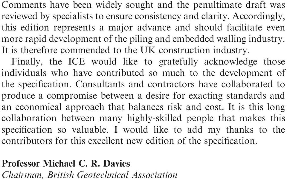 ICE Specification for Piling and Embedded Retaining Walls, 2nd edition