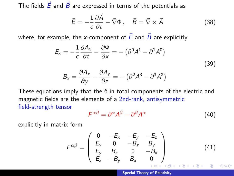 that the 6 in total components of the electric and magnetic fields are the elements of a 2nd-rank, antisymmetric