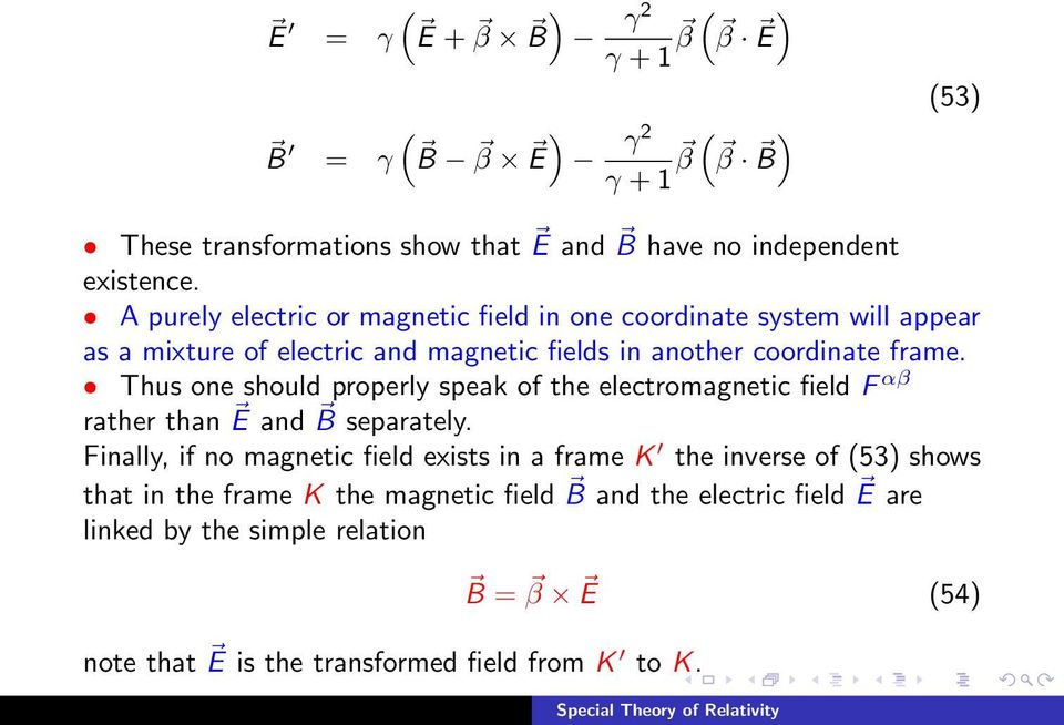 Thus one should properly speak of the electromagnetic field F αβ rather than E and B separately.