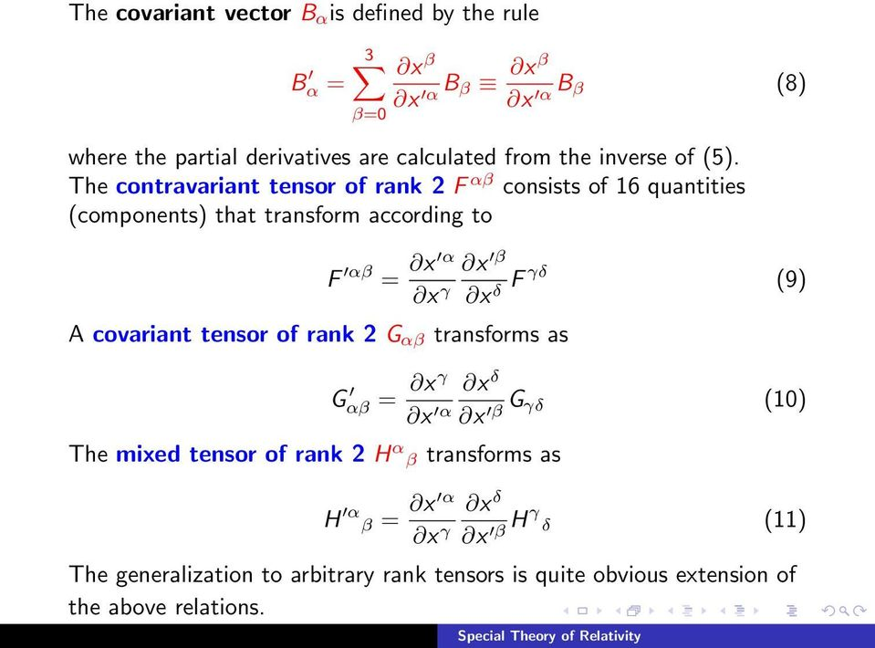 The contravariant tensor of rank 2 F αβ consists of 16 quantities (components) that transform according to F αβ = A covariant tensor of