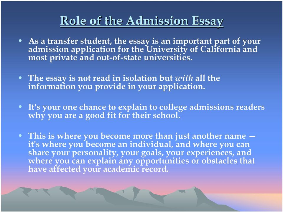 Student tips for college admission essays