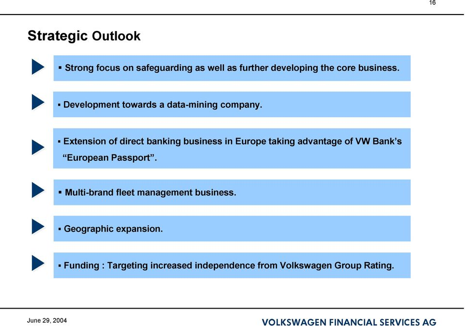 Extension of direct banking business in Europe taking advantage of VW Bank s European