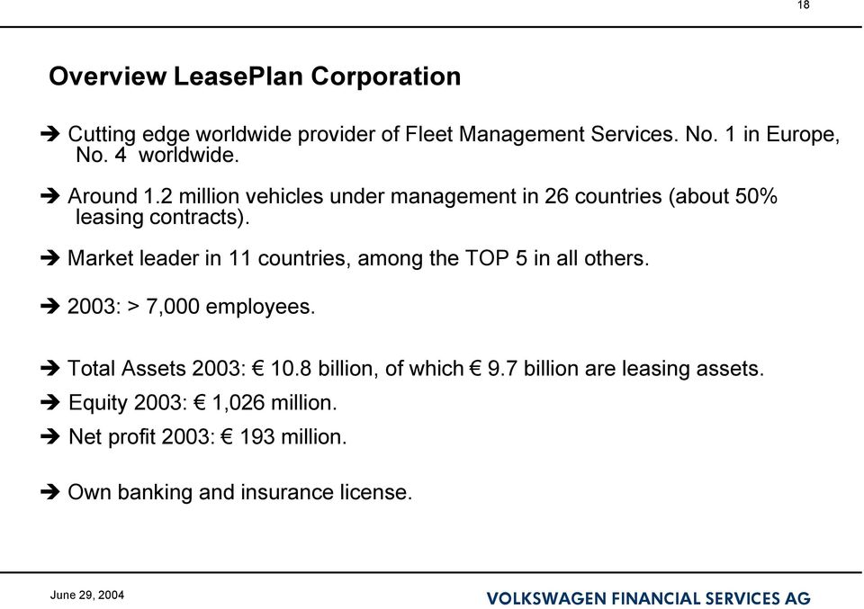 Market leader in 11 countries, among the TOP 5 in all others. 2003: > 7,000 employees. Total Assets 2003: 10.