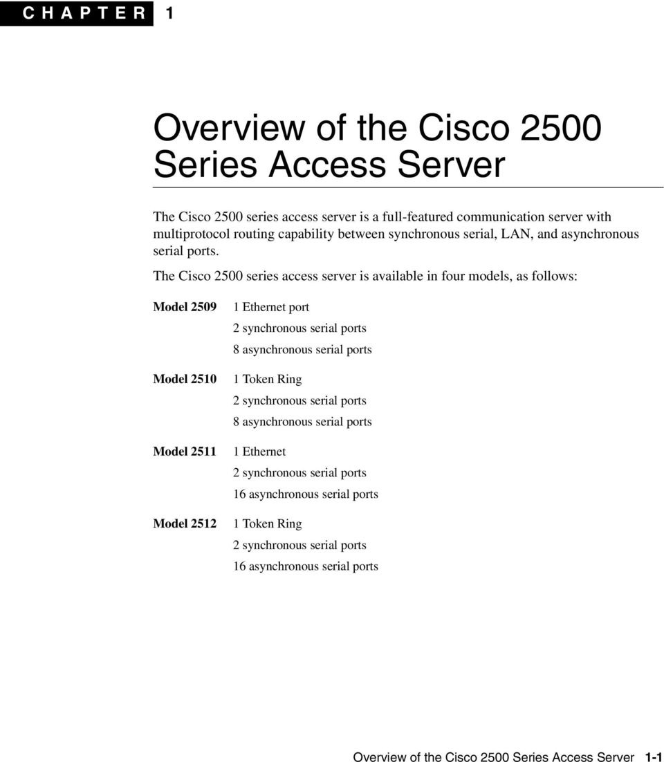 The Cisco 2500 series access server is available in four models, as follows: Model 2509 Model 2510 Model 2511 Model 2512 1