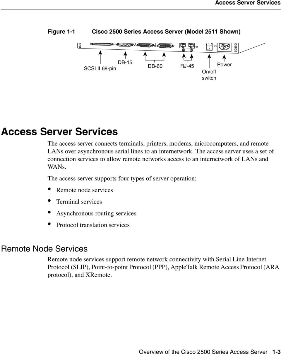 The access server uses a set of connection services to allow remote networks access to an internetwork of LANs and WANs.