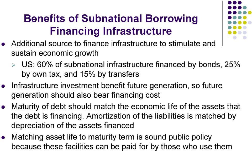 should also bear financing cost Maturity of debt should match the economic life of the assets that the debt is financing.