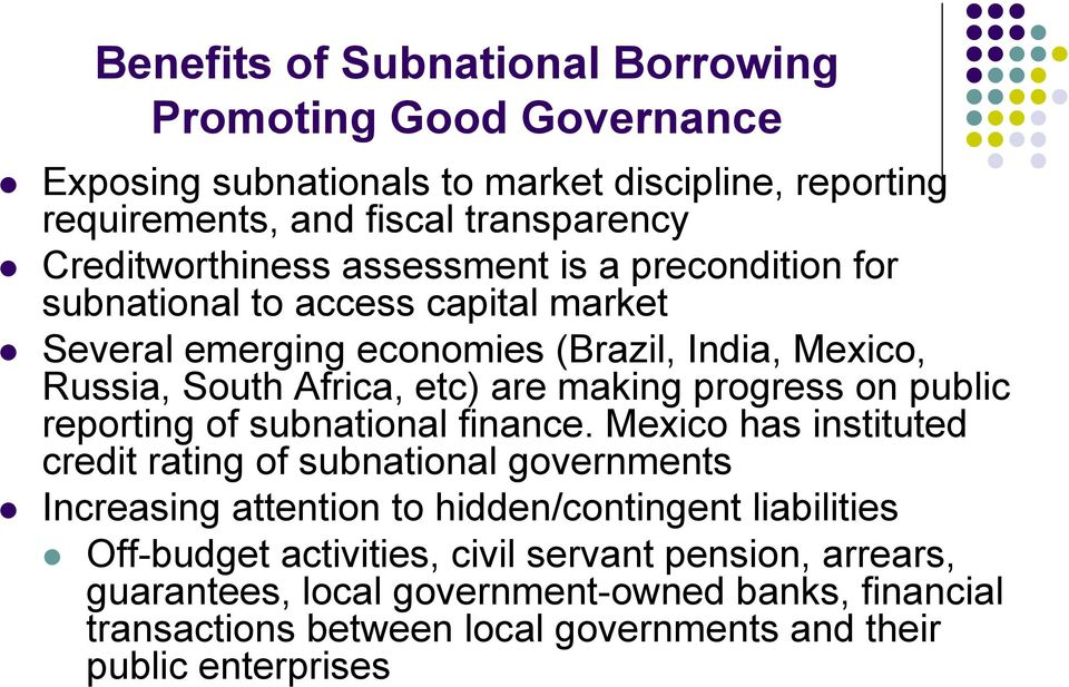 are making progress on public reporting of subnational finance.