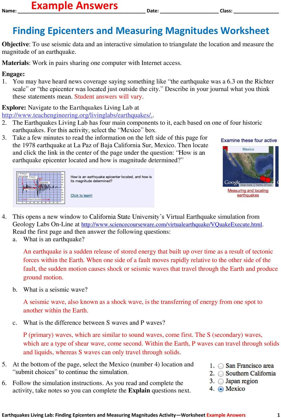 worksheet Find The Epicenter Worksheet name date class finding epicenters and measuring magnitudes 3 on the richter scale or epicenter was located just outside city describe