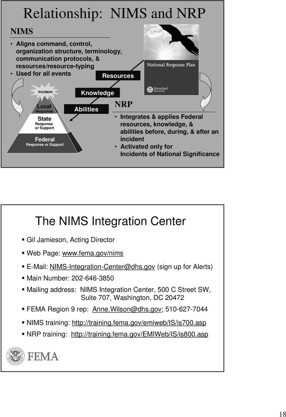 only for Incidents of National Significance The NIMS Integration Center Gil Jamieson, Acting Director Web Page: www.fema.gov/nims E-Mail: NIMS-Integration-Center@dhs.