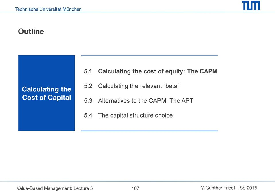the Cost of Capital 5.2 Calculating the relevant beta 5.