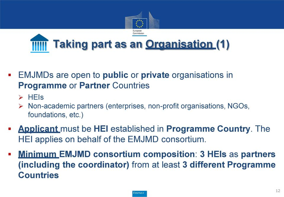 ) Applicant must be HEI established in Programme Country. The HEI applies on behalf of the EMJMD consortium.