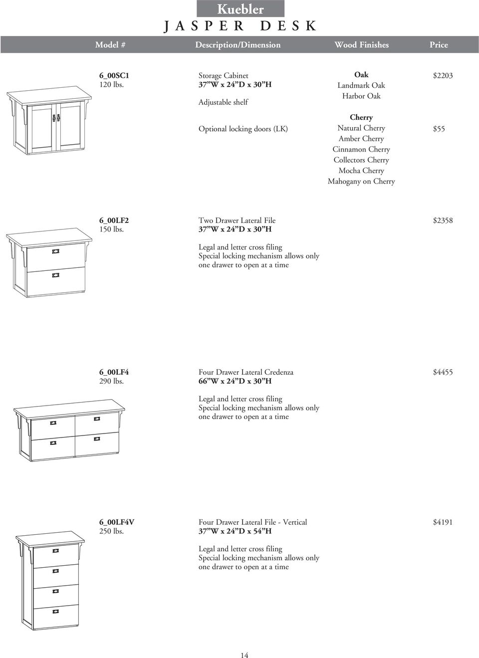 37 W x 24 D x 30 H Legal and letter cross filing Special locking mechanism allows only one drawer to open at a time 6_00LF4 Four Drawer Lateral Credenza $4455 290