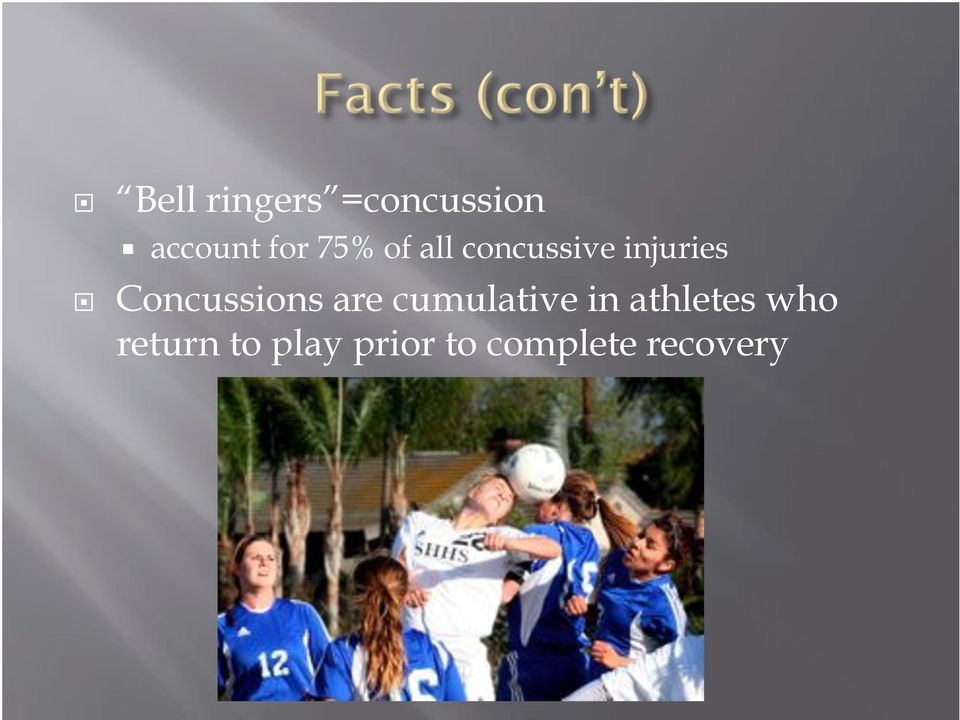 Concussions are cumulative in athletes