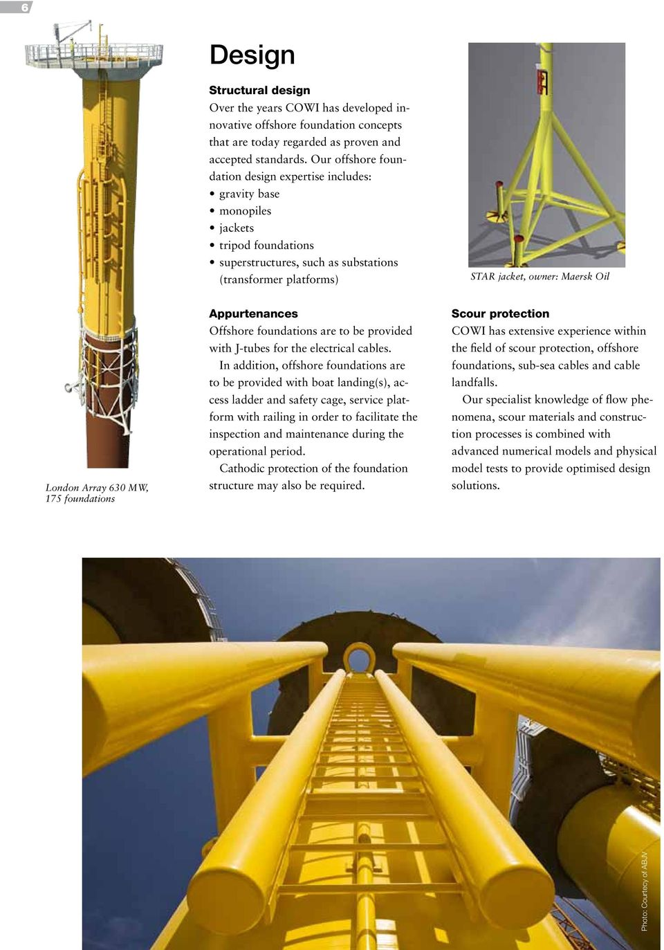 Array 630 MW, 175 foundations Appurtenances Offshore foundations are to be provided with J-tubes for the electrical cables.