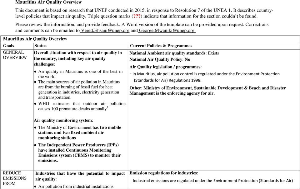 A Word version of the template can be provided upon request. Corrections and comments can be emailed to Vered.Ehsani@unep.org
