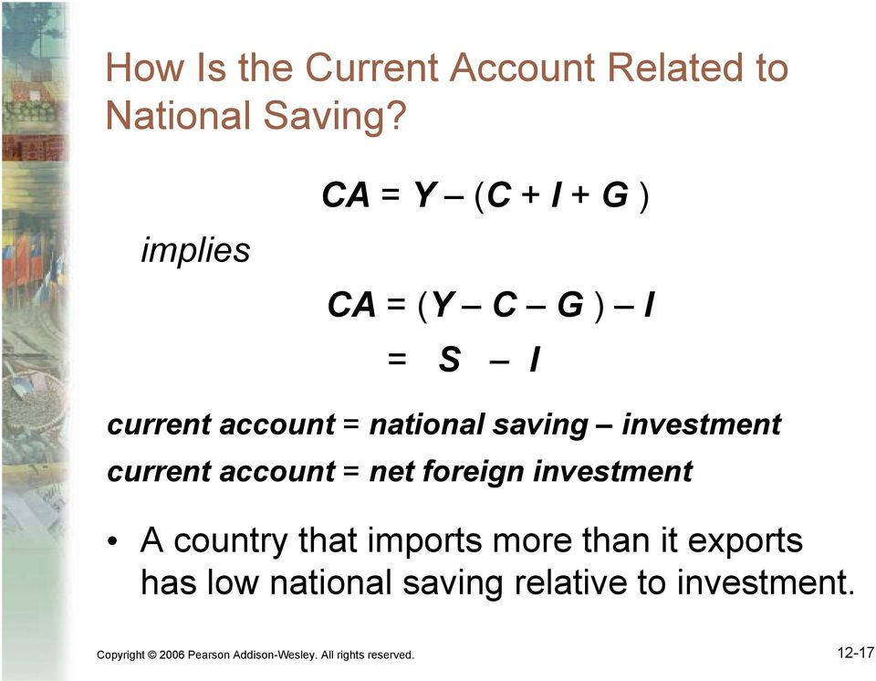 investment current account = net foreign investment A country that imports more than